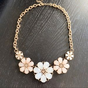 Pink and White Gold Floral Statement Necklace